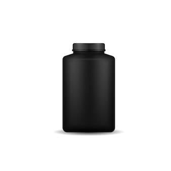 스포츠 식품 검정 용기 단백질 벡터가 있는 현실적인 검정 플라스틱 병