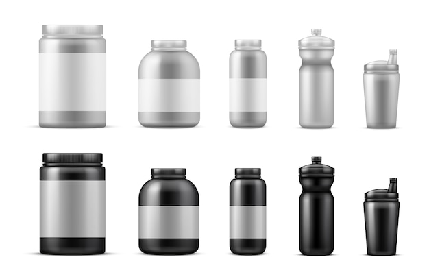 Sport food containers. realistic drink bottles. protein powder containers isolated on white background. container plastic for workout, protein to bodybuilding illustration