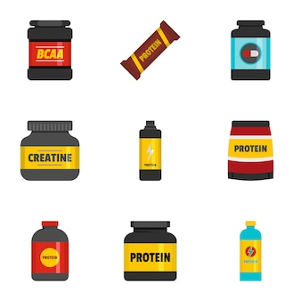 Sport food icons set, flat style