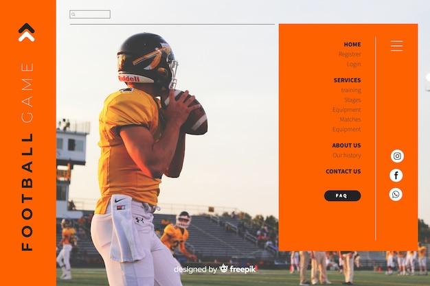 Pagina di destinazione del calcio sportivo
