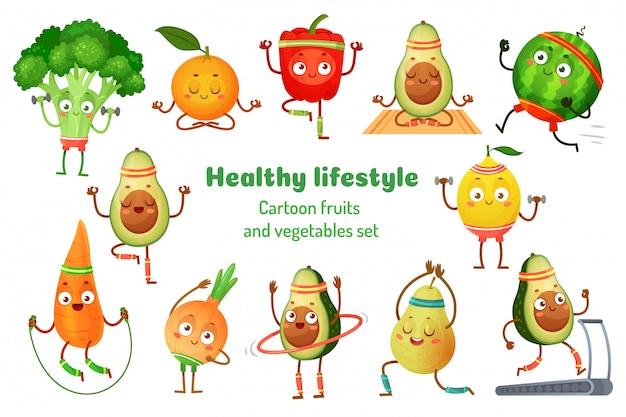 Спортивные фрукты и овощи. талисманы здорового образа жизни, фруктовые спортивные упражнения и авокадо йога тренировки мультфильм иллюстрации набор