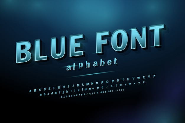 Sport future blue glow modern alphabet fonts.