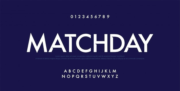 Sport future modern alphabetフォントと番号