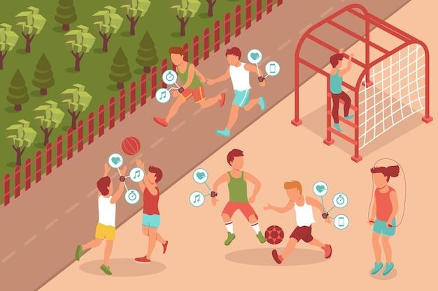 Спортивный гаджет изометрической композиции с пейзажами на открытом воздухе и персонажами детей-подростков, носящих электронные аксессуары для фитнеса