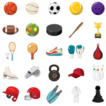 Sport game icons set in cartoon style