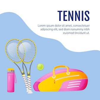 스포츠 장비 소셜 미디어 게시물. 테니스 용품. 웹 배너 디자인 템플릿입니다. 전문 스포츠 장비
