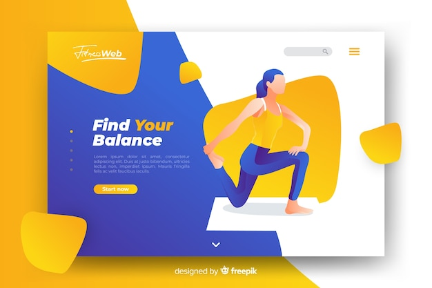 Sport get fit landing page with illustration