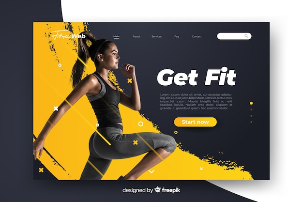 Sport get fit landing page with photo