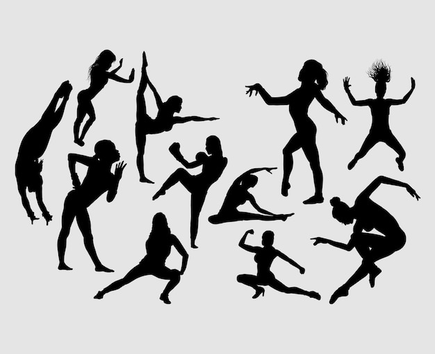 Sport girl activity silhouette