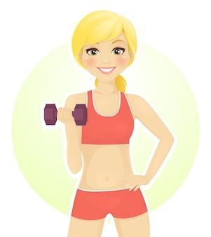 아령으로 운동하는 스포츠 소녀