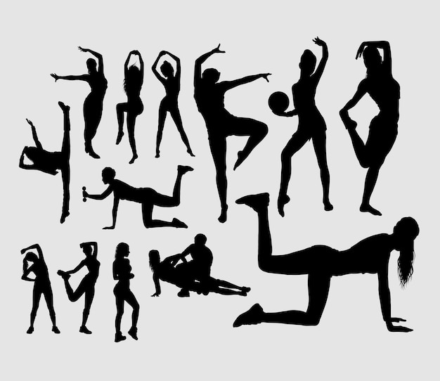 Sport girls training activity silhouette