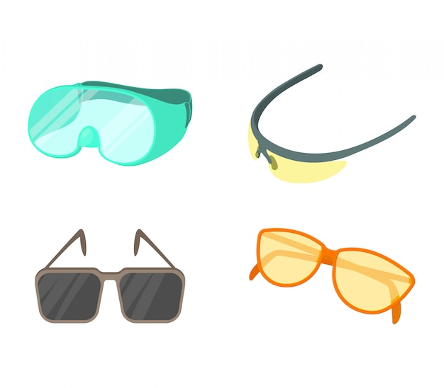 Sport glasses icon set