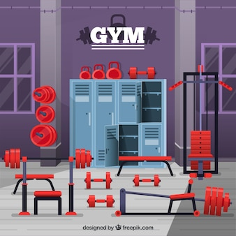 Sport gym background with exercise machines