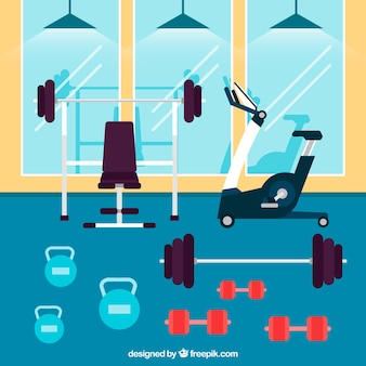 Sport gym background with exercises machines in flat style