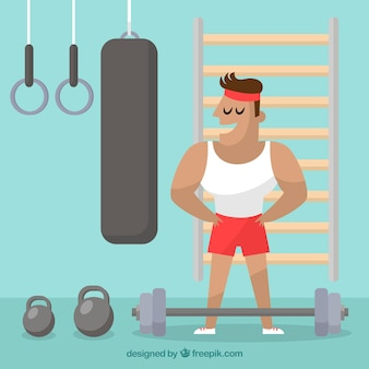 Sport gym background with people training