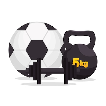 Sport gym ball barbell kettle bell icons