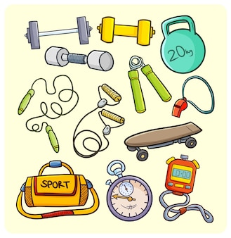 Sport and gym equipment in simple doodle style