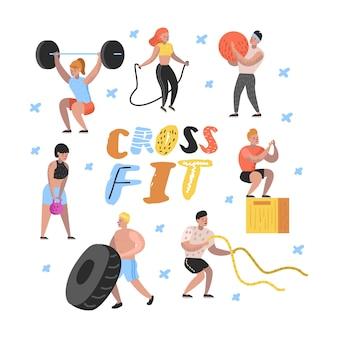 Плоские люди в спортивном зале со штангами и оборудованием для фитнеса
