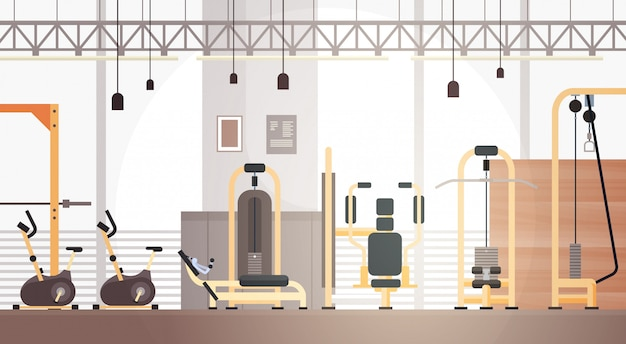 Sport gym interior workout equipment copy space