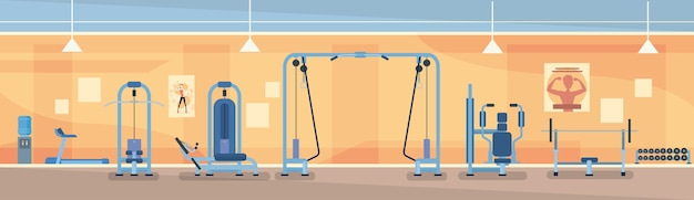 Sport gym interior workout equipment