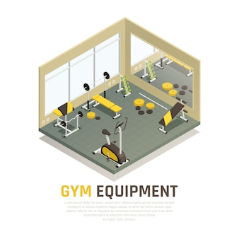 Sport hall with black yellow exercise equipment and mirror on wall isometric composition