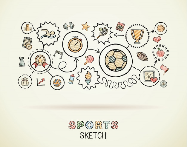 Sport hand draw integrated icons set on paper. colorful  sketch infographic illustration. connected doodle color pictograms, swimming, football, soccer, game, fitness, activity concept