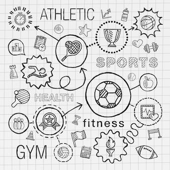 스포츠 손으로 그리는 통합 아이콘을 설정합니다. 학교 종이에 선 연결 낙서 해치 그림으로 infographic 그림을 스케치합니다. 경쟁, 공, 놀이, 축구, 테니스, 컵 사인, 게임 컨셉
