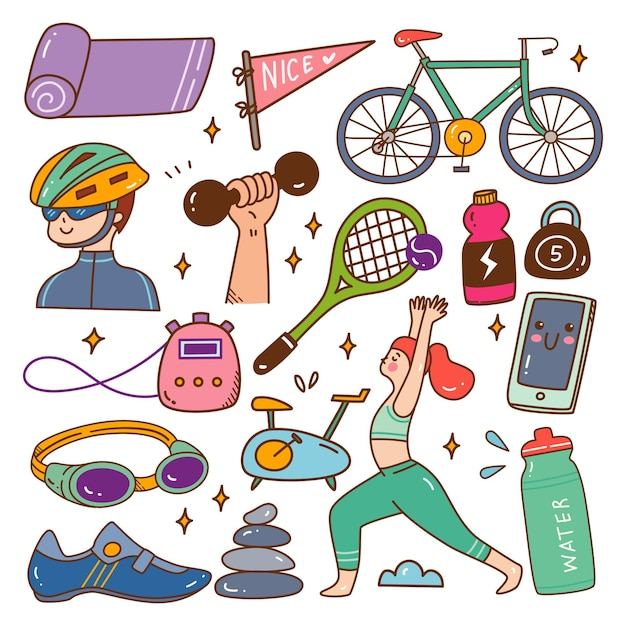 Sport and healthy lifestyle kawaii doodle vector illustration