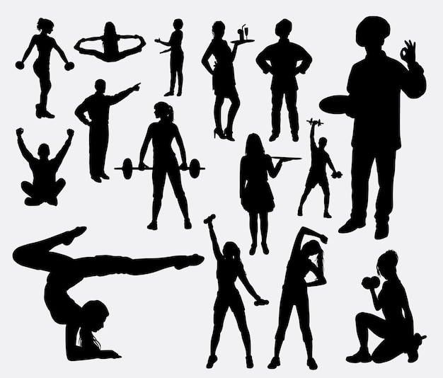Sport and hobby activity silhouette