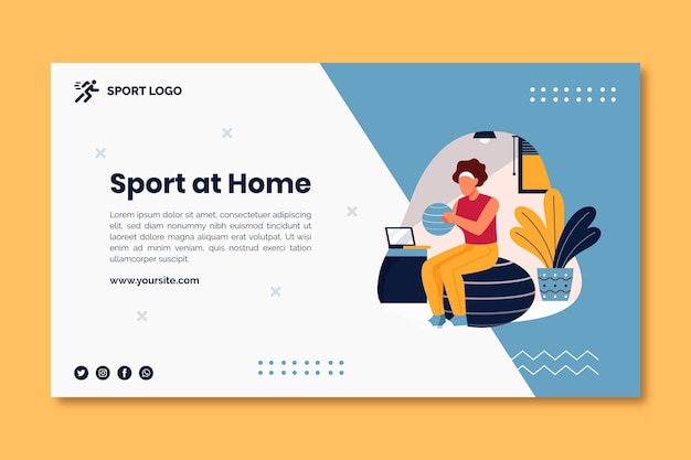 Sport at home banner concept