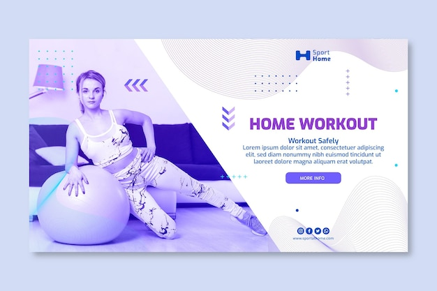 Sport at home banner template design