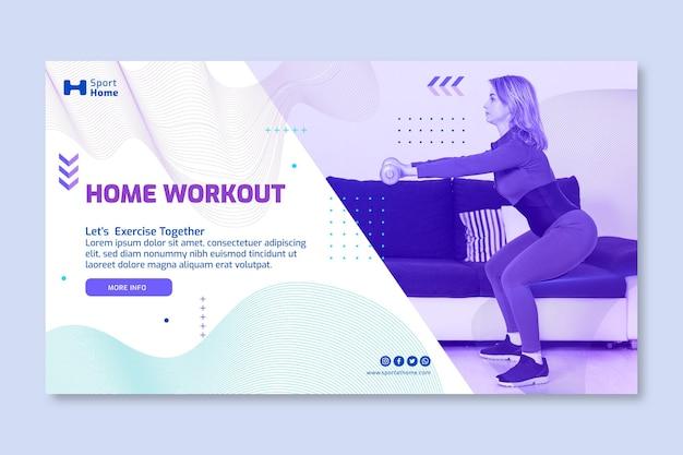 Sport a casa modello di banner design