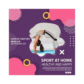Sport at home flyer square