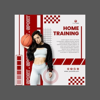 Sport at home flyer template