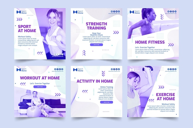 Sport a casa instagram post template design