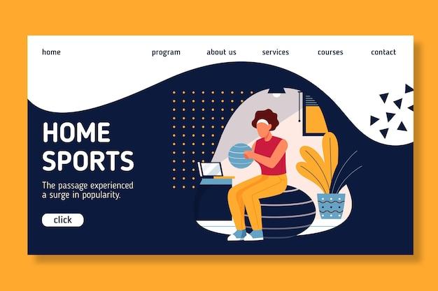 Stile della pagina di destinazione dello sport a casa