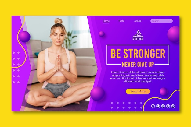Sport at home landing page