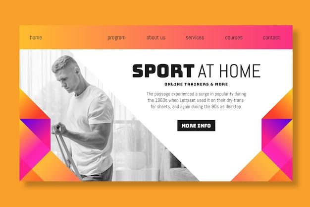 Pagina di destinazione dello sport a casa
