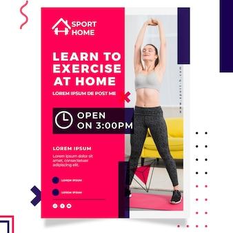 Шаблон спортивного домашнего плаката с фото
