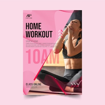Sport at home vertical flyer template