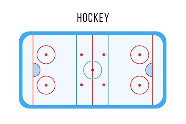 Спортивный ледовый хоккейный каток, арена или вид сверху корт.