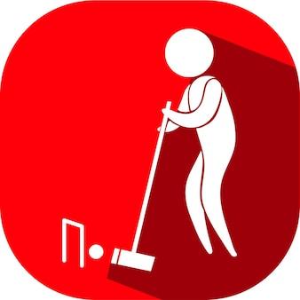 빨간 배지에 하키를 위한 스포츠 아이콘 디자인