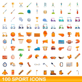 Набор спортивных иконок. карикатура иллюстрации спортивных иконок на белом фоне