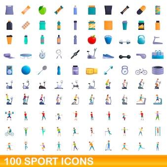 スポーツアイコンを設定します。白い背景に設定されているスポーツアイコンの漫画イラスト