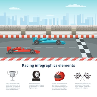 Sport infographic with race cars of formula one. different cars and driver tools