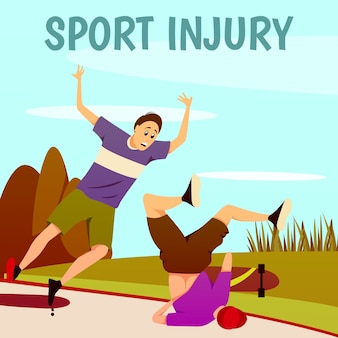 Sport injury flat colorful background. two traumatized skateboarders