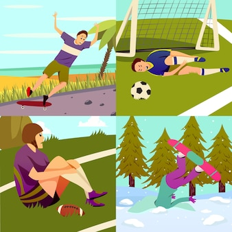 Sport injury flat colorful design concept set of square compositions with different kinds of sport