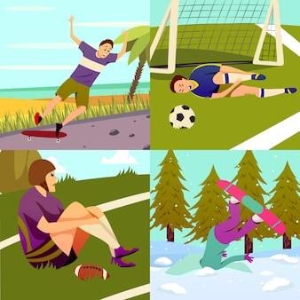 Insieme di concetto di design colorato piatto lesioni sportive di composizioni quadrate con diversi tipi di sport