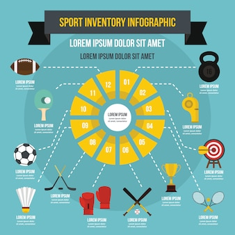 Sport inventory infographic template, flat style