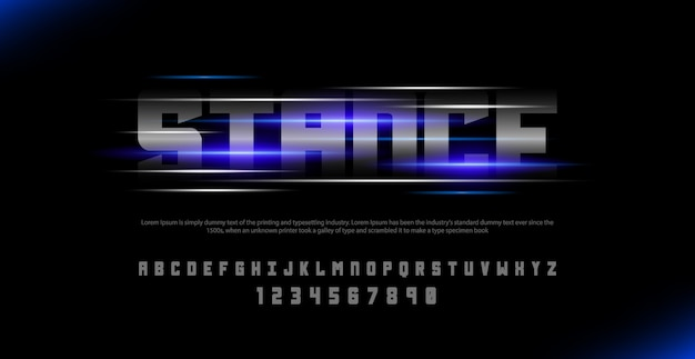 Sport italic alphabet font and number set. typography urban style fonts with lights